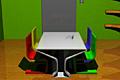 [未来的でカラフルなテーブルセットがある密室からの脱出ゲーム]Laser escape