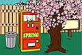 [桜の木や自動販売機がある場所からの脱出ゲーム]サクラの下の自販機